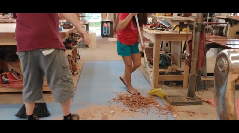 Woodworking||hang around in the shop|| cleaning and check out a shinny pretty sepele wood