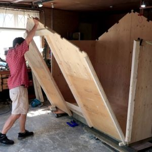 Modular shed build in the garage