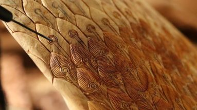 Woodworking -  Handy Carving Skills Extremely Making Peacock Wing