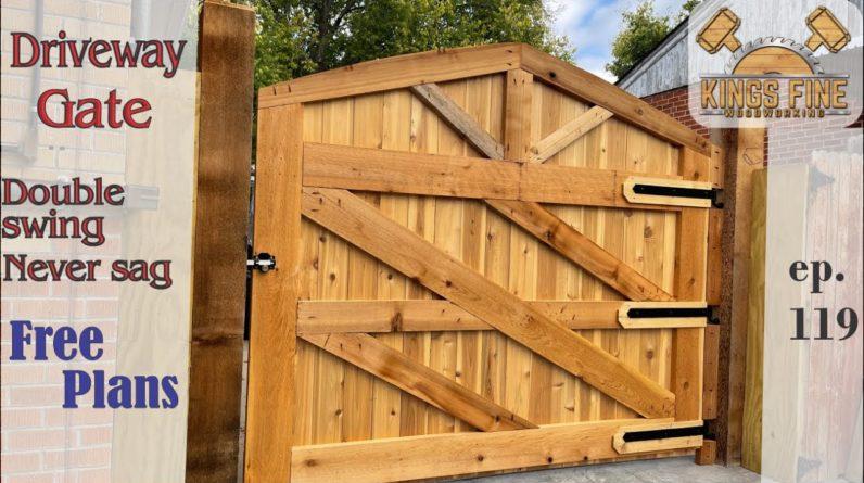 Wide Driveway Gate DIY-  Never Sag - Free Plans - 119